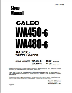 KOMATSU WA480-6 Wheel Loaders manual pdf