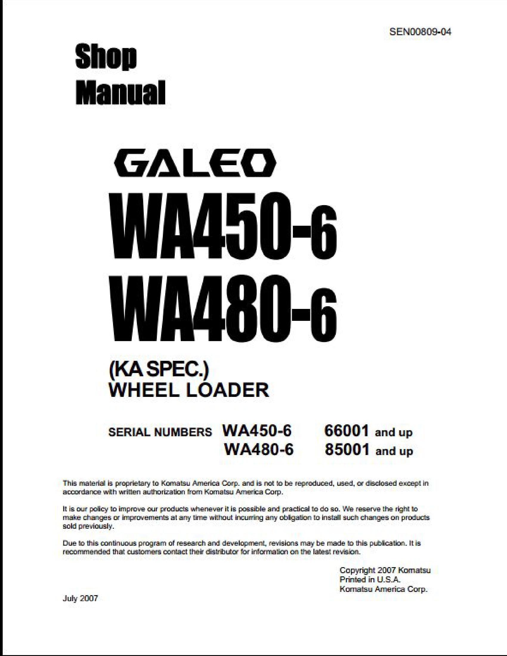 KOMATSU WA480-6 Wheel Loaders manual