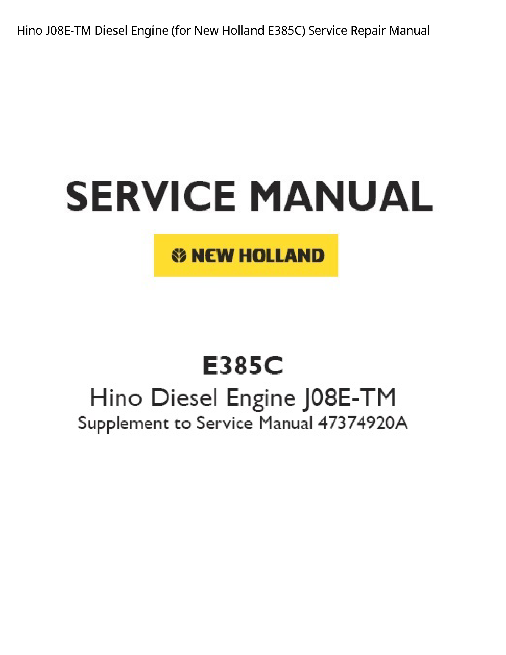 Hino J08E-TM Diesel Engine for New Holland manual