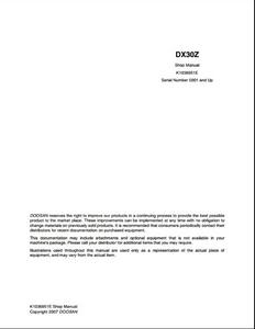 Doosan DX30Z Crawled Excavator manual