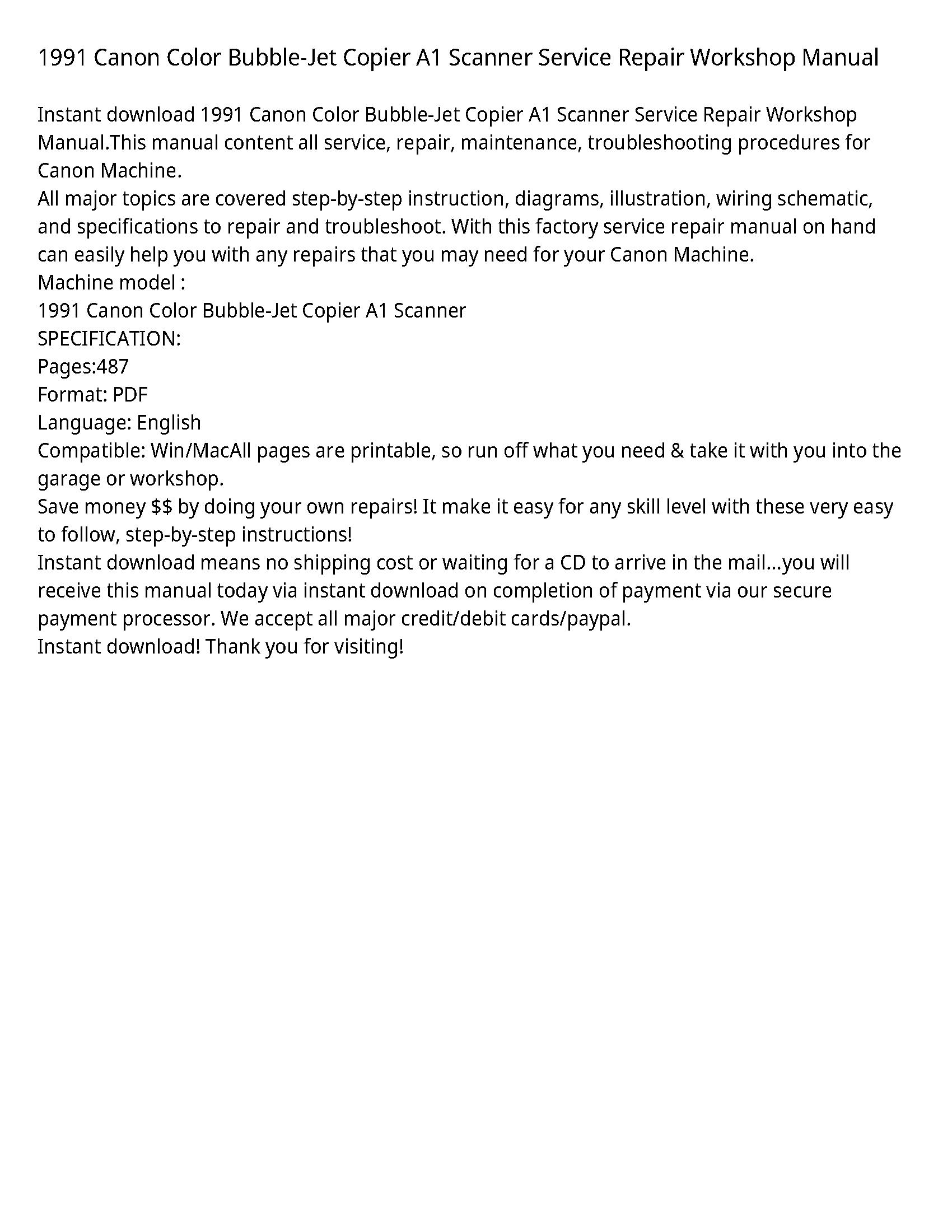 Canon A1 Color Bubble-Jet Copier Scanner manual