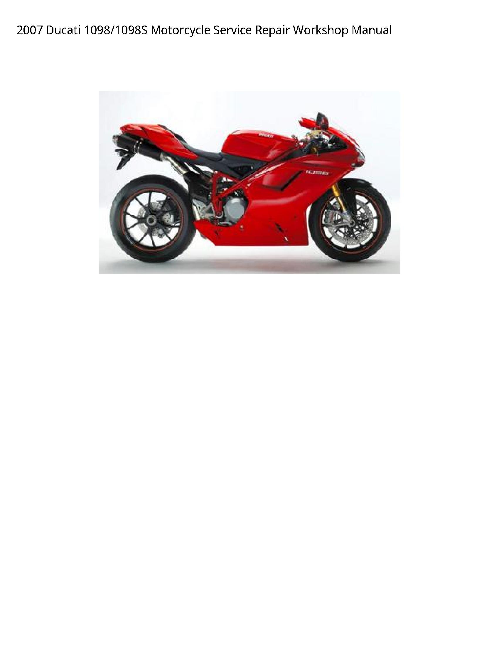 Ducati 1098 Motorcycle manual
