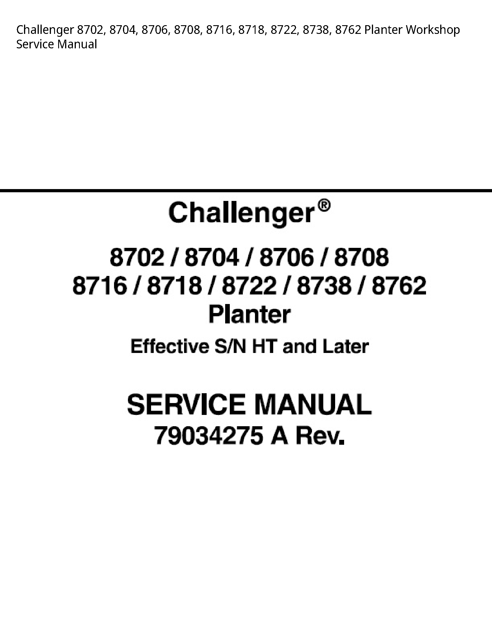 Challenger 8702 Planter Service manual