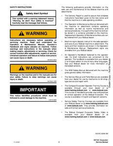 Bobcat 341 Compact Excavator D Series manual
