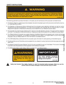 Bobcat X341 Compact Excavator manual