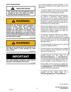 Bobcat 334 Hydraulic Excavator D Series manual