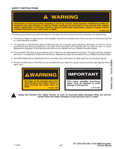 Bobcat X331 Hydraulic Excavator manual