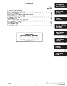 Bobcat X325 Hydraulic Excavator service manual