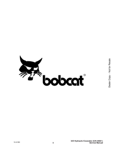 Bobcat X325 Hydraulic Excavator manual pdf