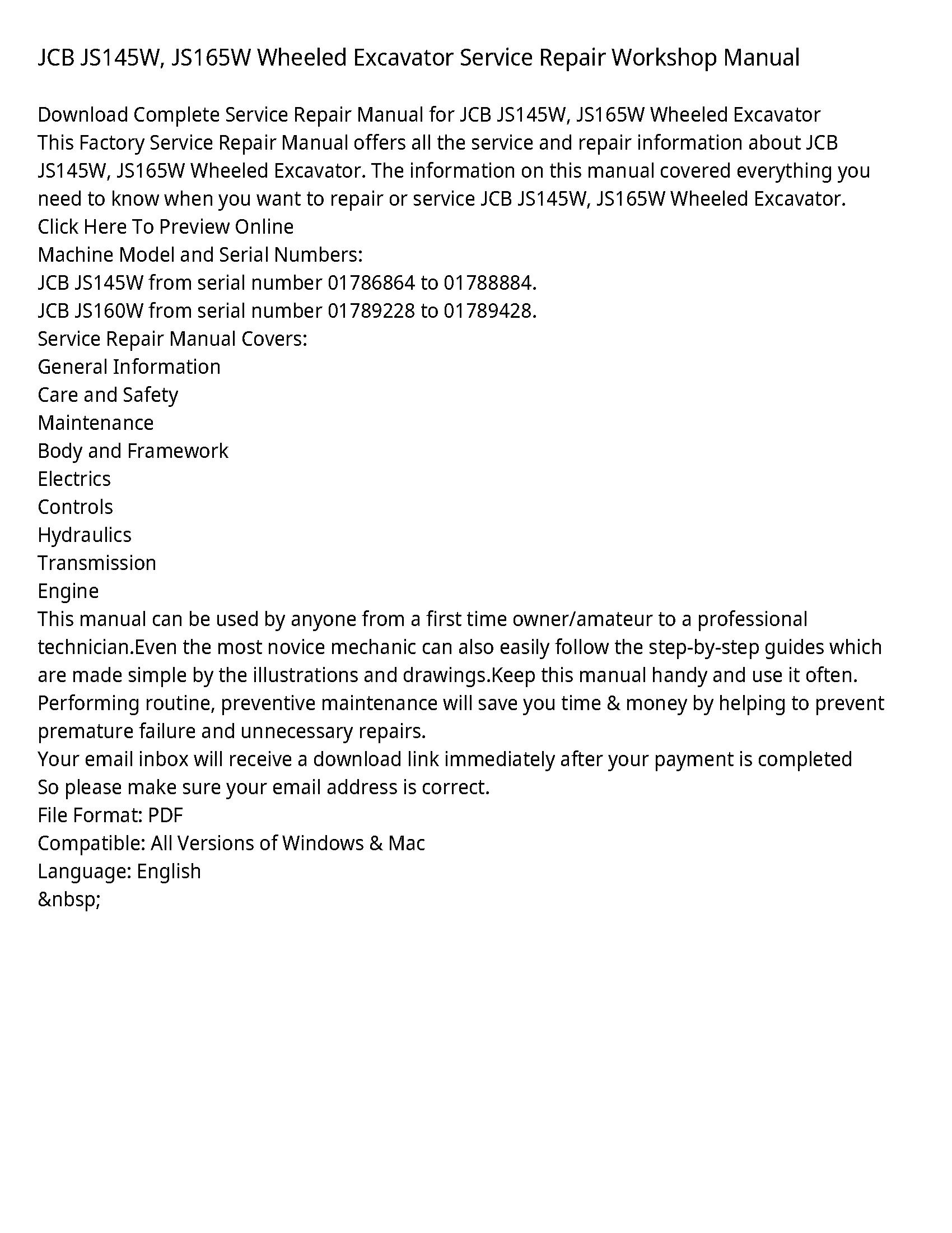 JCB JS165W Wheeled Excavator manual