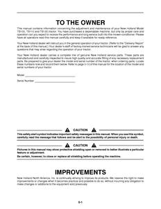 New Holland TB100 manual