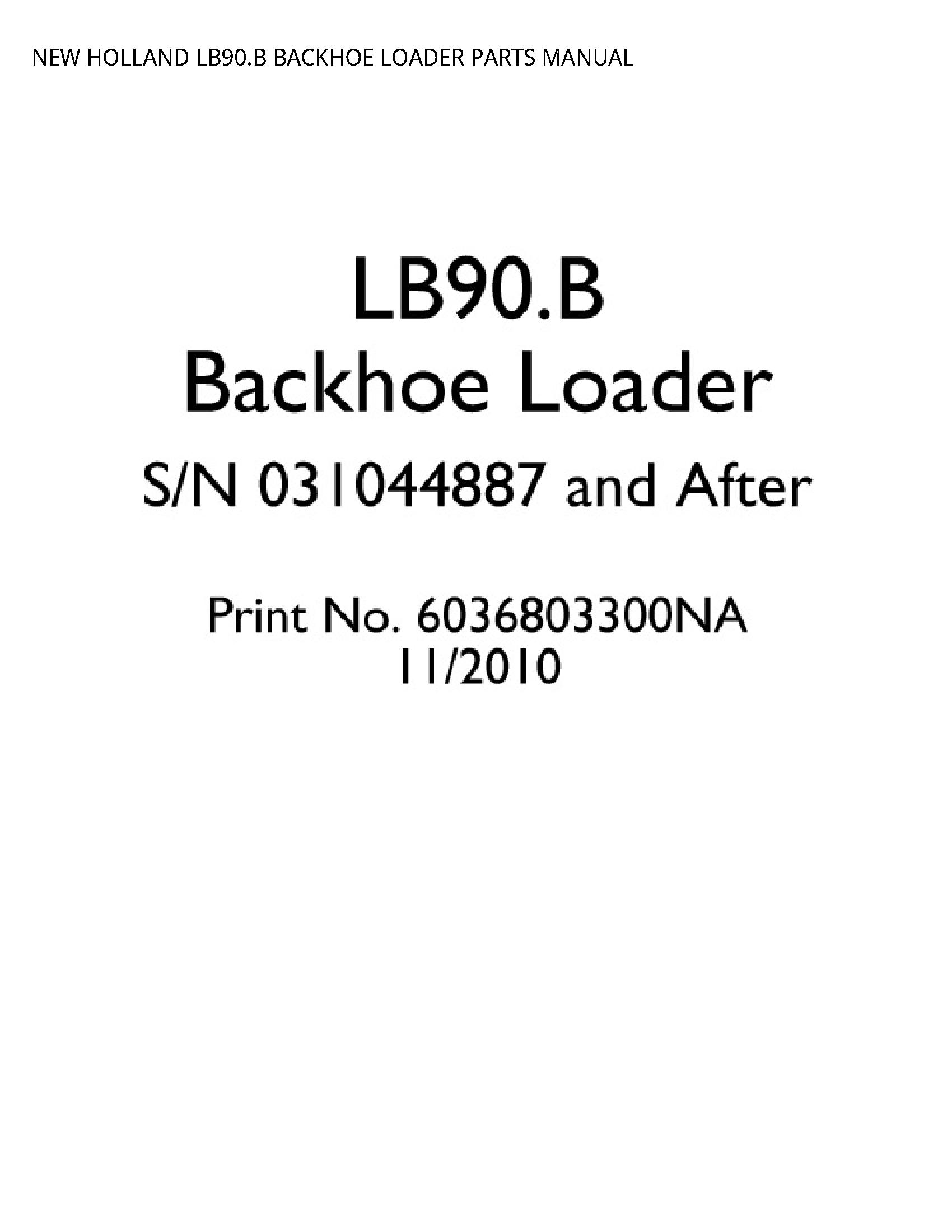 New Holland LB90.B BACKHOE LOADER PARTS manual
