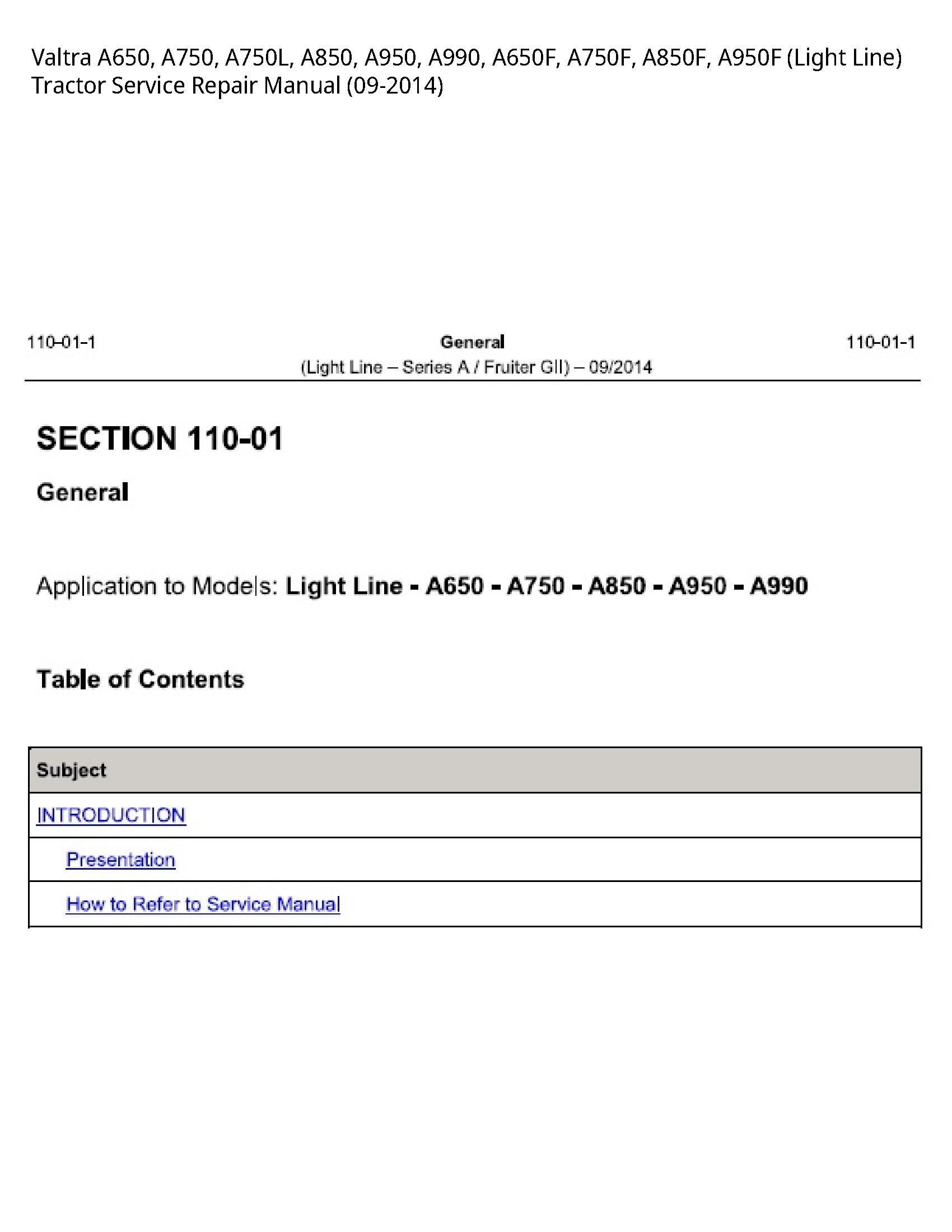 Valtra A650 (Light Line) Tractor manual